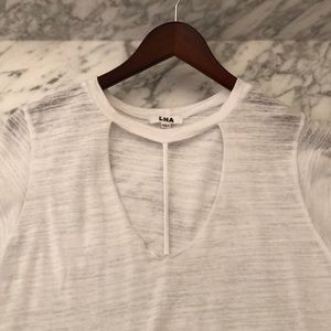 LNA soft cut out white short sleeve T-shirt.Size S